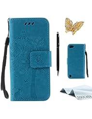 Galaxy A5 2015,TOUCASA Lederhülle PU Leder Flip Tasche Case Katzen und Bäume Muster Handyhülle für Samsung Galaxy A5 2015 + 1 x Eingabestift & Glitzer Staub Stecker