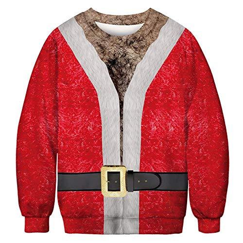 Kostüm Gym 70's - YEZIJIANG Weihnachten Pullover Jumper Herren Damen Unisex Lustige Sweatshirts hässliche Pullover 3D Printed Xmas Grafik Santa Long Sleeve Shirt 3D Druck Pullover Ugly Christmas Sweater