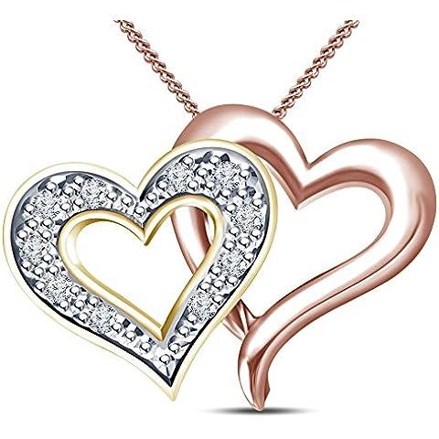 Vorra Fashion 14K oro & plata bañado en oro rosa de 14K Colgante de Corazón Love (wit Cadena de 18