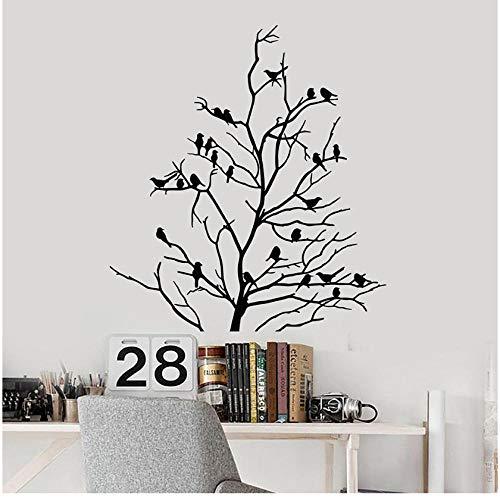 Kahler Baum Vögel Zweige Vinyl Aufkleber Wohnkultur Wohnzimmer Wandkunst Removable Wallpaper Wandaufkleber 57x63 cm -