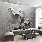 HONGYUANZHANG In Rilievo Signora 3D Personalizzato Foto Murale Sfondo Muro Dipinto Adatto Per La Casa Soggiorno,110Cm (H) X 190Cm (W)