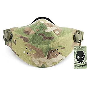 Militaire Tactique Airsoft Paintball Chasse Néoprène Lumière Poids Forme Dure Réglable Moitié Visage Nez Masque de Protection 5 Couleurs (Multicam, Mandragore, Highlander, Aor2, AT FG) (Multicam)