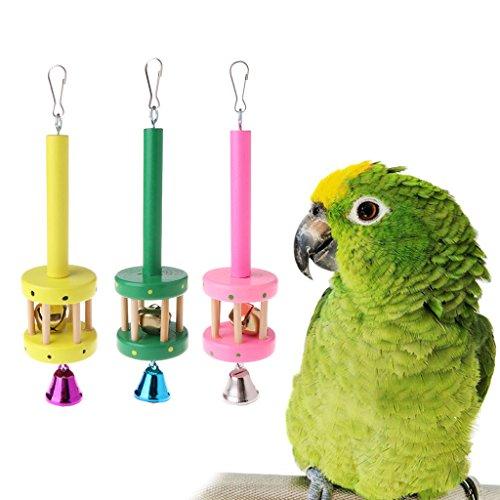 Fogun Papagei Spielzeug,  Hängender hölzerner Ring Bell Sound-Farbe Zufällige