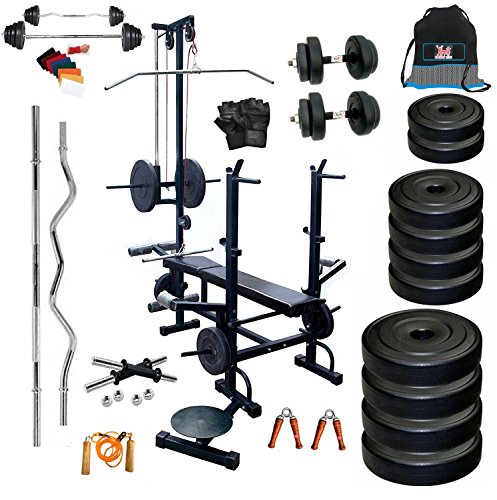 bodyfit 20 in 1 bench home gym exercise kits with plates 50 kg rh aapkabazzaar com Gym Shoes Gym Chart