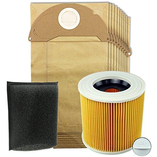 Spares2go Full kit d'entretien pour aspirateurs Karcher (Comprend cartouche + Filtre en mousse et 10 Sacs)