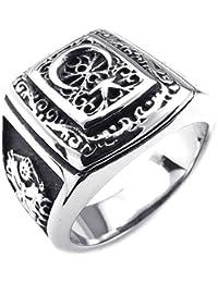 KONOV Joyería Anillo de hombre, Clásicos Gótico Estrella Luna, Acero inoxidable, Color negro plata (con bolsa de regalo)