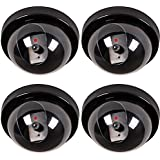 Krevia 4 Pcs Dummy CCTV Dome Camera with Blinking Red Led Light for Home Or Office Security