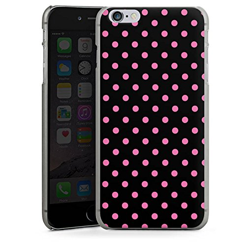 Apple iPhone 6 Plus Housse Étui Protection Coque Points Rose vif Noir CasDur anthracite clair