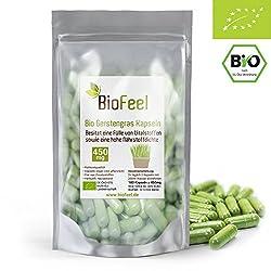 BioFeel - Bio Gerstengras Kapseln, 180Stk, 450mg - aus NEUSEELAND - rein - vegan - ohne Zusätze