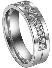 Flongo Anillos Pareja, anillos de compromiso, Alianzas para novios enamorados, Anillos de eternidad