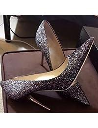 Zapatos de Tacón Alto con Lentejuelas de Gradiente con Zapatos Individuales,Mi,33