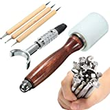 Leathercraft Stamping Tools kit, 25 piezas de cuero Craft Hand Tools Kit, Hammer herramienta de impresión de costura kit hecho a mano traje DIY accesorios