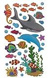 27 tlg. Set XL Wandtattoo / Fensterbild / Sticker - Fische Fisch Koi Muscheln - Wandsticker Aufkleber Unterwasser Unterwasserwelt Karpfen Seepferdchen Clownfi..