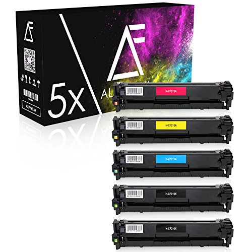 5 Alphafax Toner kompatibel zu HP CF210X CF211A CF212A CF213A für HP Laserjet Pro 200 Color MFP M276nw M276n M251n M251nw - Schwarz je 2.400 Seiten, Color je 1.800 Seiten