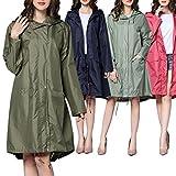Note. Waterproof Women Hooded Raincoat Long Rain Wear Breathable Rain Coat Poncho Outdoor Rainwear for Girls Camping Travel 6 Colors
