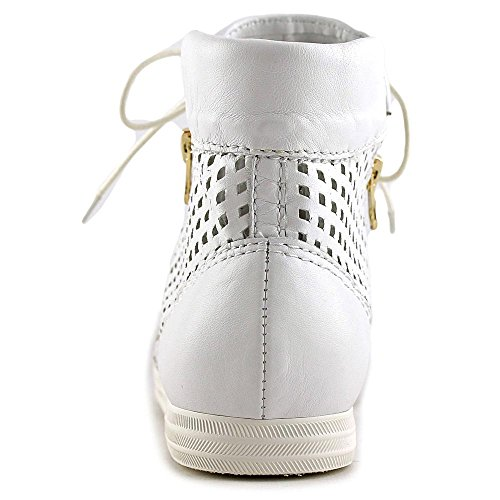 All Black Hi-Top Perf Femmes Cuir Baskets Perf White