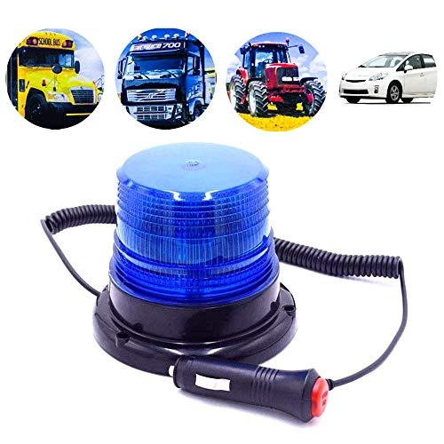 STARPIA Lampeggiante a LED Luce di Emergenza, lampeggianti per auto/trattore/camion,Base Magnetica per Spina Accendisigari CC 12-80V Veicoli (Blu)