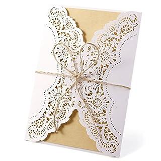 Anladia 10er Einladungskarten Elegante Blumen Spitze Design Kraftpapier mit Jutekordel Karten, Umschläge, Schleifer, Einlegeblätter OHNE DRUCK Hochzeit Geburtstag Taufe Party Einladung #95