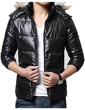 Abajo chaqueta con capucha del abrigo de pieles del collar de los hombres largos de invierno , green gray , xl
