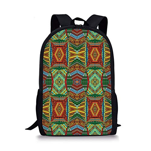 School Bags Red Mandala,Hand Drawn Doodle Style Flowers Swirls Ivy in Square Shape Image,Pink Yellow and White for Boys&Girls Mens Sport Daypack