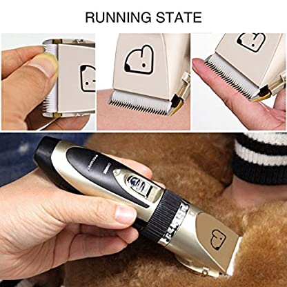 Dog Grooming Clippers, Focuspet 2 Speed Adjustable Dog Clippers Rechargeable Cordless Low Noise Dog Clippers Kit… 5