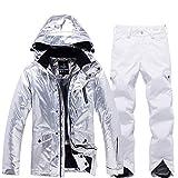 JJZZ Abbigliamento da sci Tuta da Sci da Uomo Argento Brillante da Uomo Giacca da Snowboard Antivento Impermeabile Termica Termica Pantaloni da Sci Abbigliamento da Neve da Donna