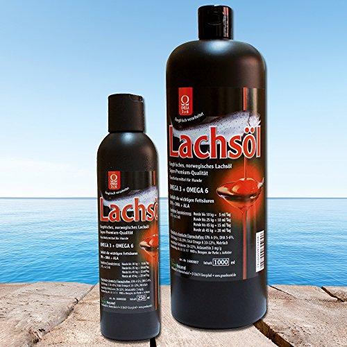 Artikelbild: Lachsöl 100% rein für Hunde aus frischem Lachs in Premium-Qualität mit OMEGA 3 + OMEGA 6 Fettsäuren fischoel hund