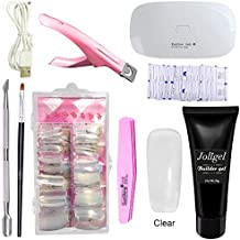 Joligel Polygel Uñas Kit Completo con Lámpara UV LED, Gel Constructor Transparente + Moldes Tips