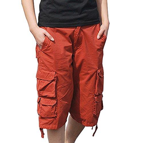HAHOME uomini stile militare combattimento dei carico Cargo Shorts cotone (senza cintura) DK17 Red
