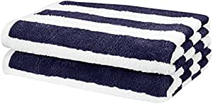 "AmazonBasics 2 Piece Cotton Beach Towel, 60"" x 30"" (152.4 cm X 76.2 cm) - Cabana Stripe, Navy Blue"