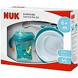 NUK 10225130 Esslern-Set Boy, Geschenkbox mit Cup, Esslernschale und Löffeln, inklusive gratis Ersatz-Trinktülle, ab 6 Monaten, petrol
