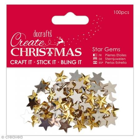 Docrafts Papermania Create Christmas Adhesive Gems 100/Pkg-Gold