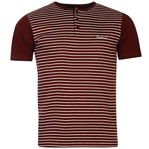 Pierre Cardin Grandad Stripe t-shirt da uomo bordeaux top maglietta, Burgundy, L