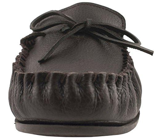 Lambland pour homme/femme Mocassin Chaussons avec dessus en cuir et doublure en coton Marron - Marron foncé