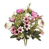 N&T NIETING - Bouquet di Rose Artificiali in Seta, con 5 Rami e 12 Fiori Finti per Matrimoni, Decorazioni per la casa, Confezione da 2, plastica, Purple, 11.8'