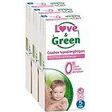 Love & Green - Couches Bébé Hypoallergéniques 0% -  Taille 5 (12-25 kg) - Lot de 3 x 40 couches (120 couches)