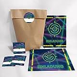 12-er Set Einladungskarten, Umschläge, Geschenktüten, Aufkleber Geburtstag Kinder Lasertag für Mädchen Jungen Jungs Einladungen Kindergeburtstag Geburtstagseinladungen Set Partyset Kartenset Party