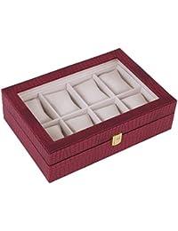 Songmics Caja joyero Estuche para relojes Organizador para joyas con 8 compartimientos Rojo JWB08R