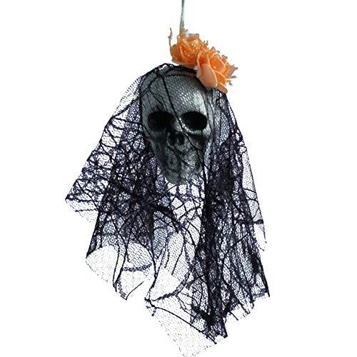 Doubleer Furchtsamer Schädel-Schaum Halloweens mit Schwarzer Spitze und Blumen Spooky Halloween-hängende Dekorationen für Den Hausgarten im Freien