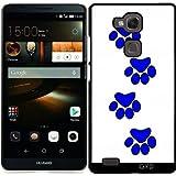 Hülle für Huawei Ascend Mate 7 - Blau Hund Pfote Druckt.