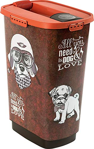 "Rotho Cody Tierfutterbehälter 50 l, Kunststoff (PP), braun/orange mit Motiv \""Vintage Dog\"", 50 Liter (39,7 x 29,6 x 58,5 cm)"