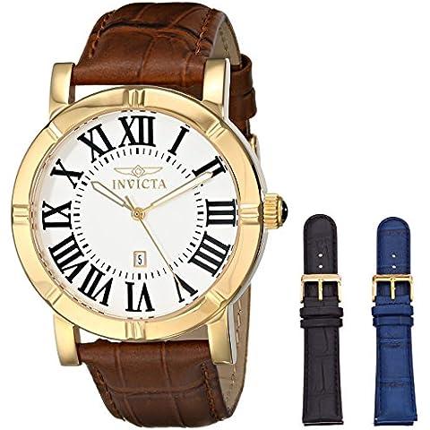 Invicta 13971 - Reloj de cuarzo para hombre, correa de cuero color marrón