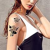 TAFLY Schwarze Rose Tattoo gefälschte Blume Körper Kunst Temporary Tattoo Wandaufkleber 5 Blätter