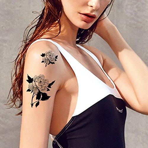 tafly-noir-rose-tattoo-fleur-fausse-corps-art-temporaires-tatouages-autocollants-5-feuilles