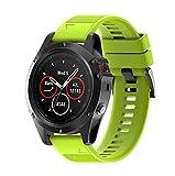 Correas para Garmin fenix 5X GPS, Saisiyiky Banda de silicona de garmin fenix 5 correa (Verde)