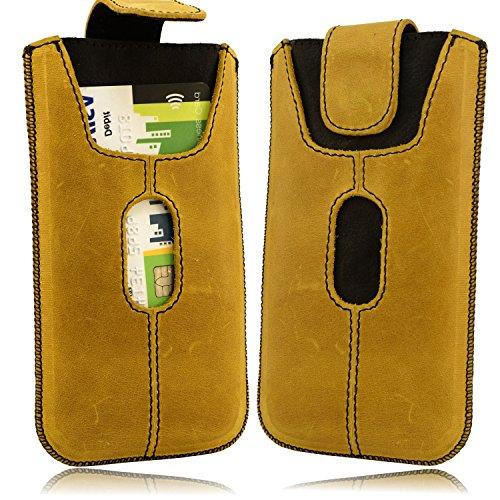 Etui Handy Tasche Apple Iphone 5 5S SE Echt Leder Case Cover Hülle Handysocken Lederetui Leder socken mit Magnetverschluss Rost Hell Braun Handarbeit Gelb/Schwarz