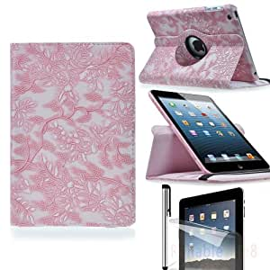 Eallc Retro 360 Degree Rotating Stand Leather Smart Case Cover for iPad Mini / ipad mini 2 with retina display with Free Stylus Pen and Protective Film (pink)
