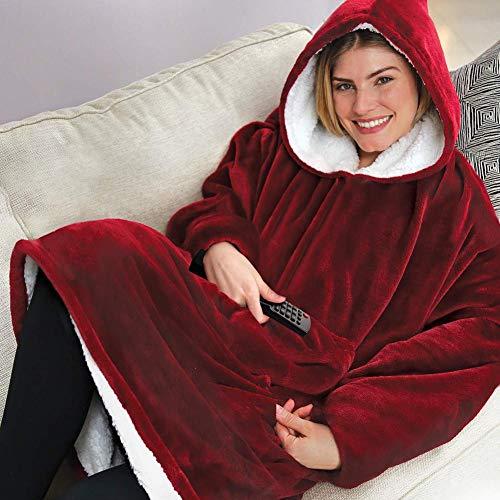 Ultra Plüschdecke Hoodie Übergroße Dicke Sweatshirt Warme bequeme lange dicke Giant Hooded Robe Pullover mit großer Tasche für Erwachsene Mann Frau wie im Fernsehen gesehen - Burgund -