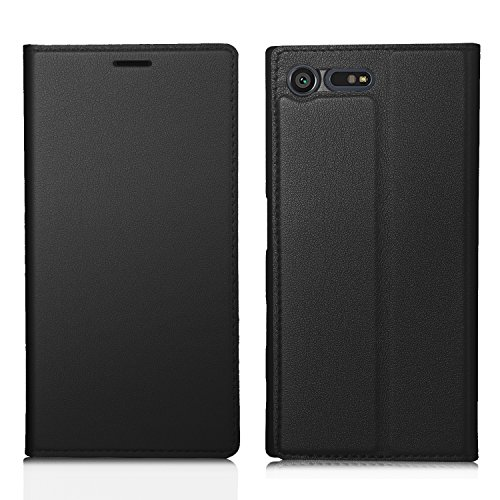 Sony Xperia X Compact Hülle,IVSO Hohe Qualität Advanced Shock Absorption Technology Case Folio Tasche Cover für Sony Xperia X Compact Smartphone 11,7 cm (4,6 Zoll), Schwarz