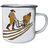 Nuevo Agricultor Y Arado De Caballos Retro, lata, taza del esmalte 10oz/280ml l567e